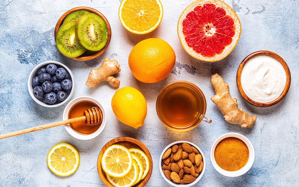 A collection of food and drink thought to boost the immune system.