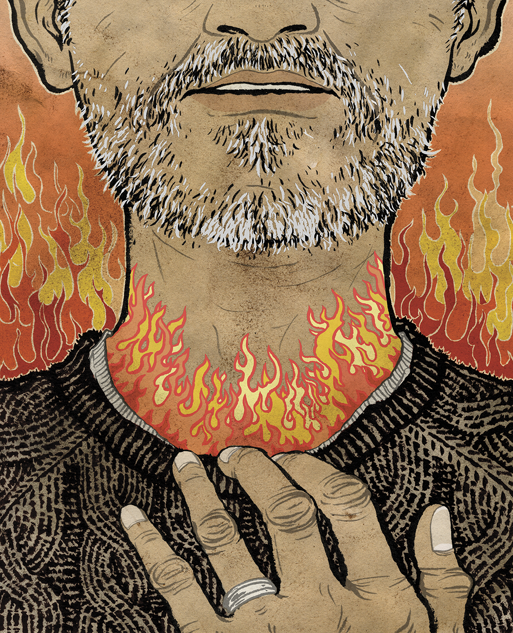 An illustration of a middle-aged man who's throat feels like it's on fire, an early symptom of throat cancer after being exposed to HPV.