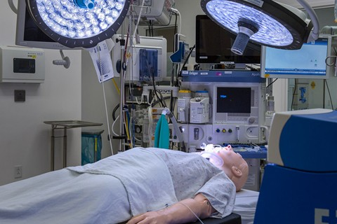 This is a fully supplied operating room with access to a large control room to aid in live, hands-on simulations.