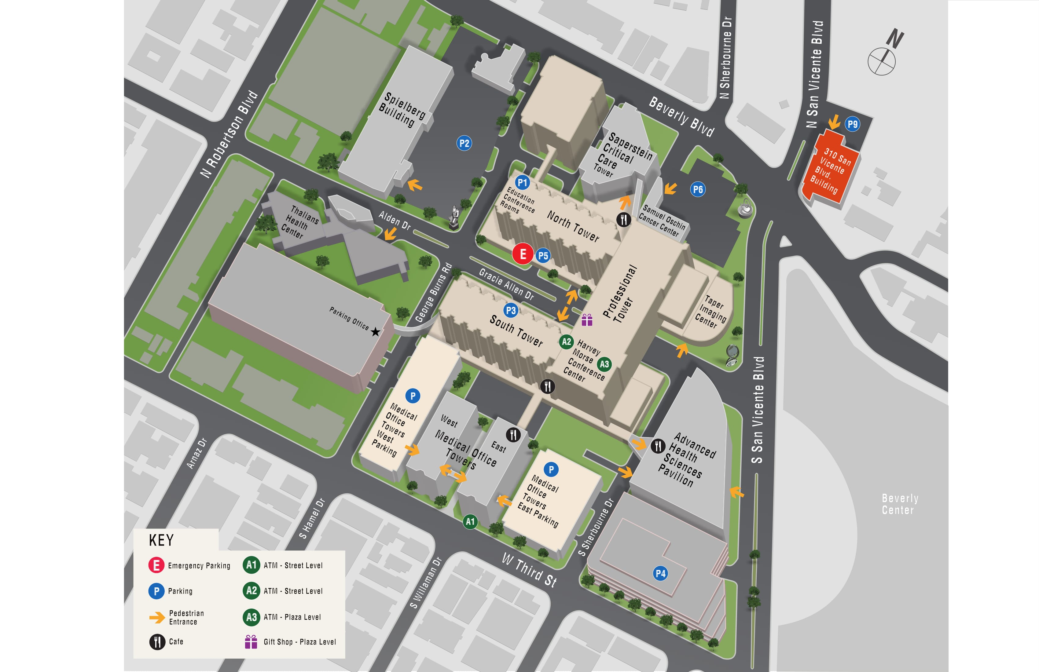 Parking map for Marcia Israel Mammography Center