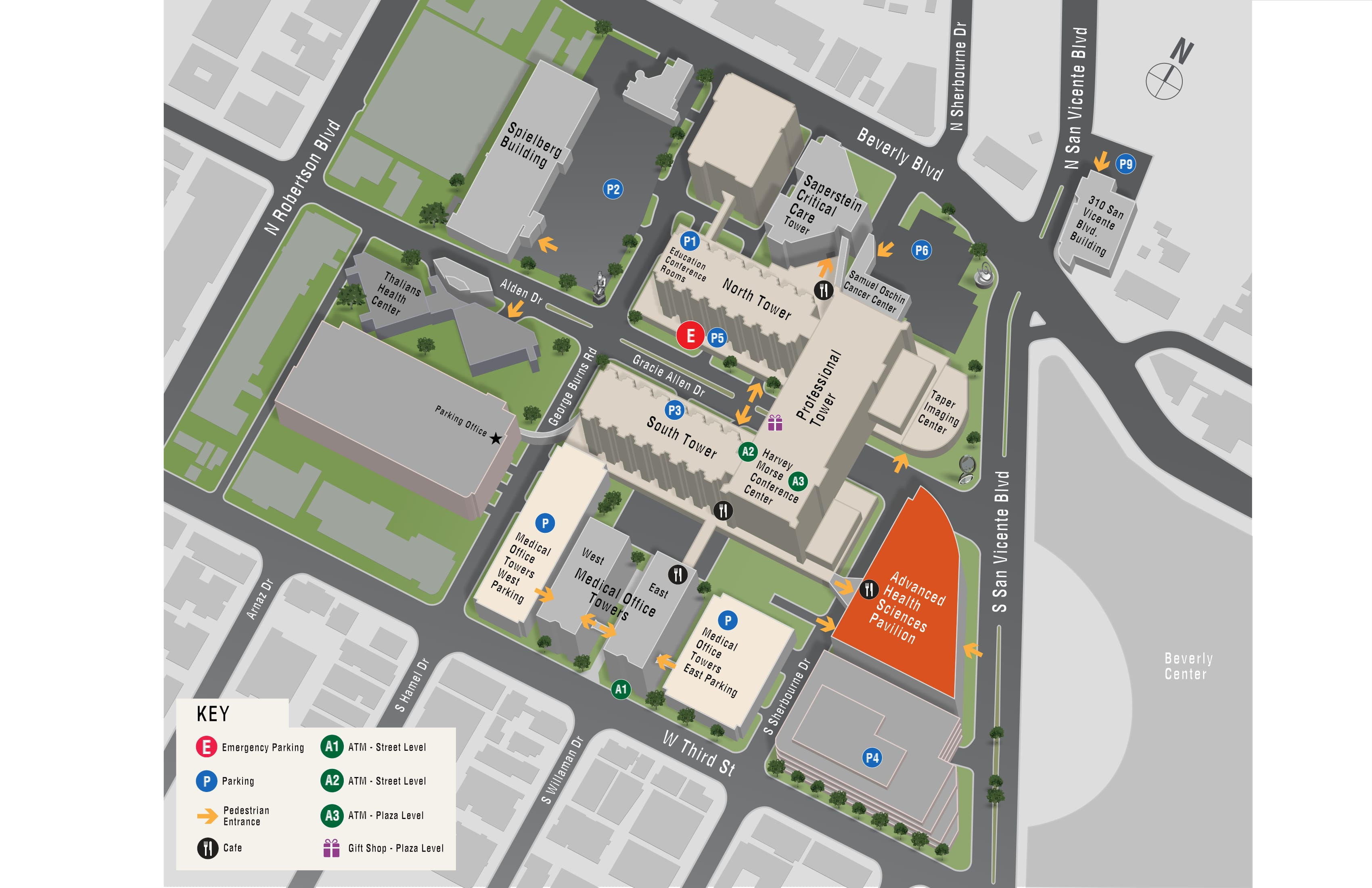 Parking map for Cardiothoracic Surgery at Smidt Heart Institute