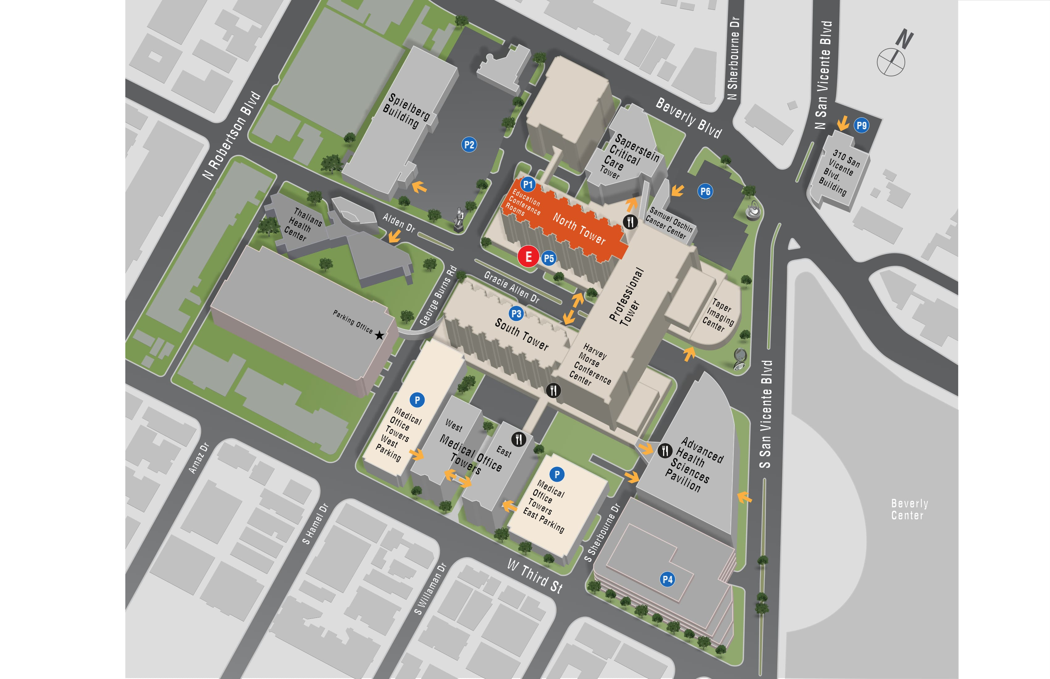 Parking map for Radiation Oncology - Cedars-Sinai Medical Center