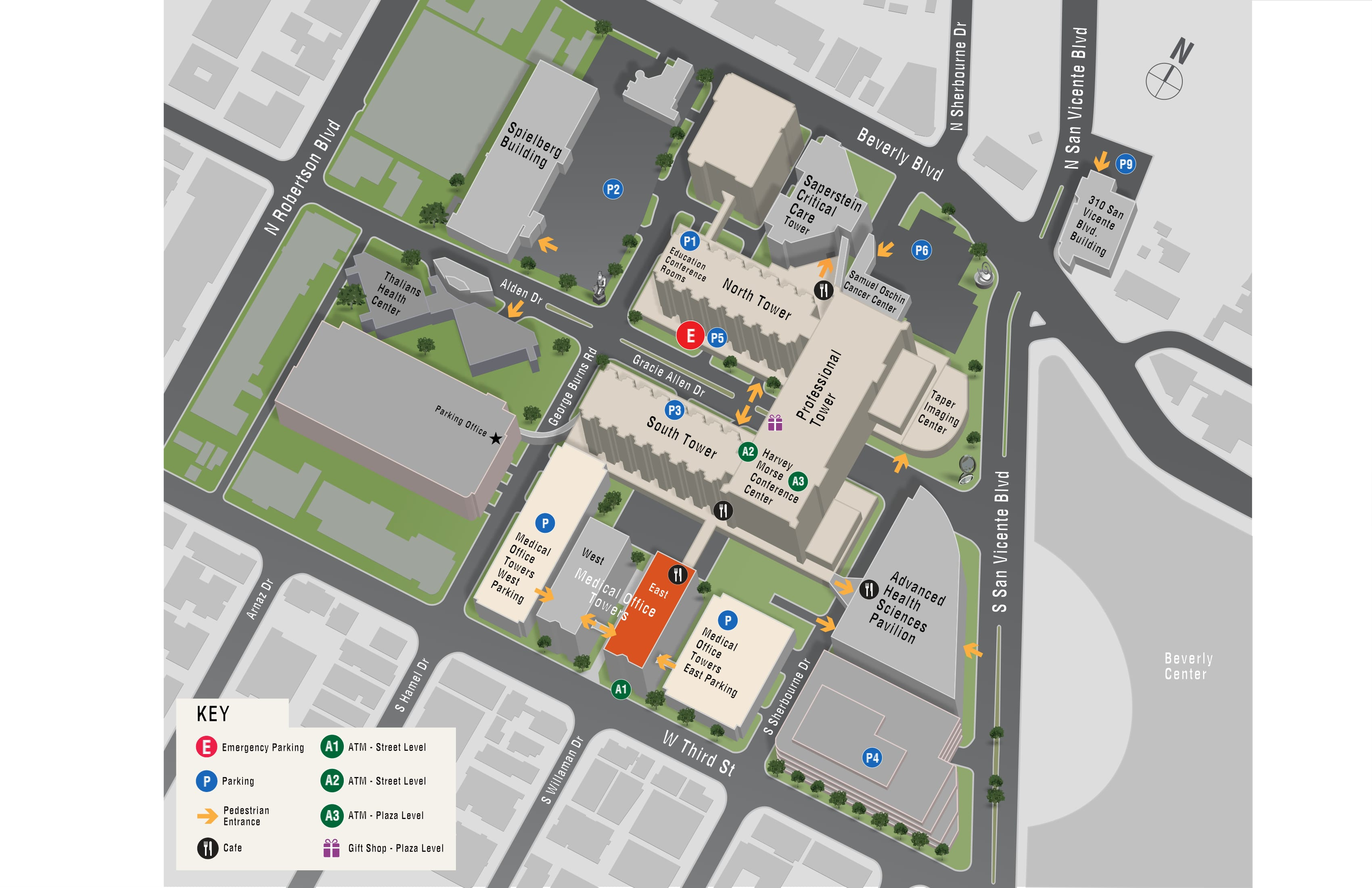 Parking map for Integrative Medicine - East