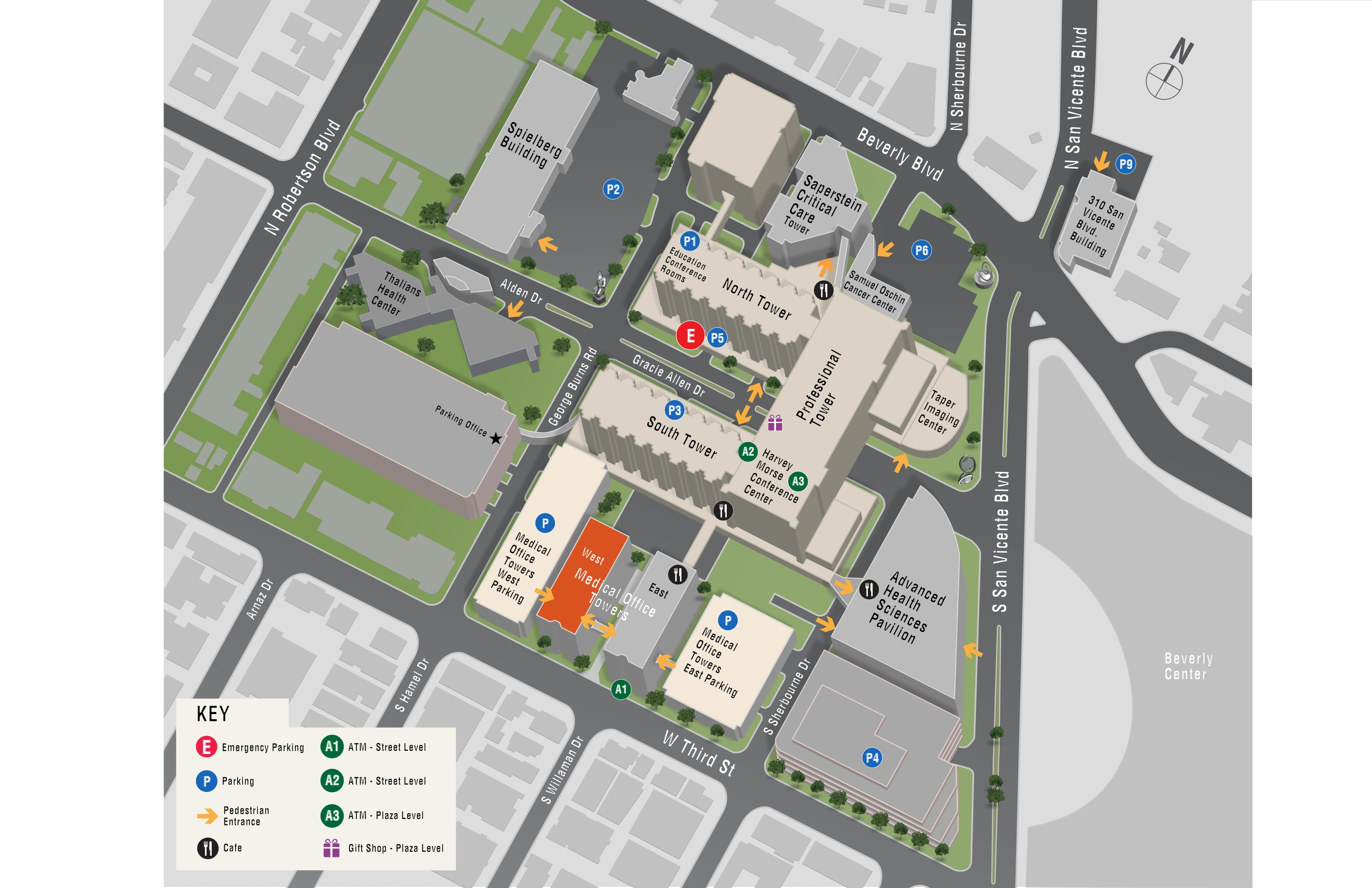 Parking map for Gastroenterology - West Tower