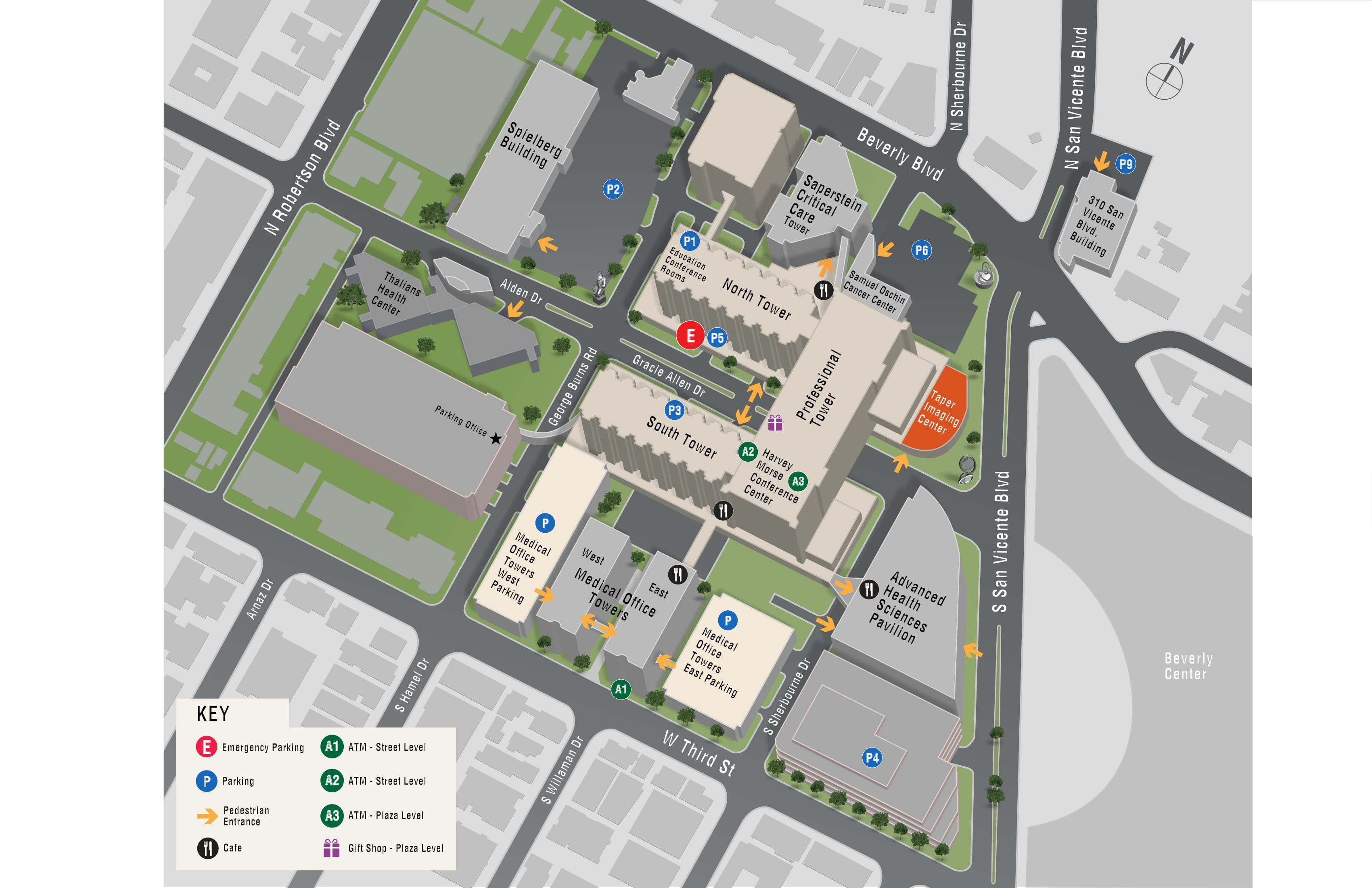 Parking map for S. Mark Taper Foundation Imaging Center
