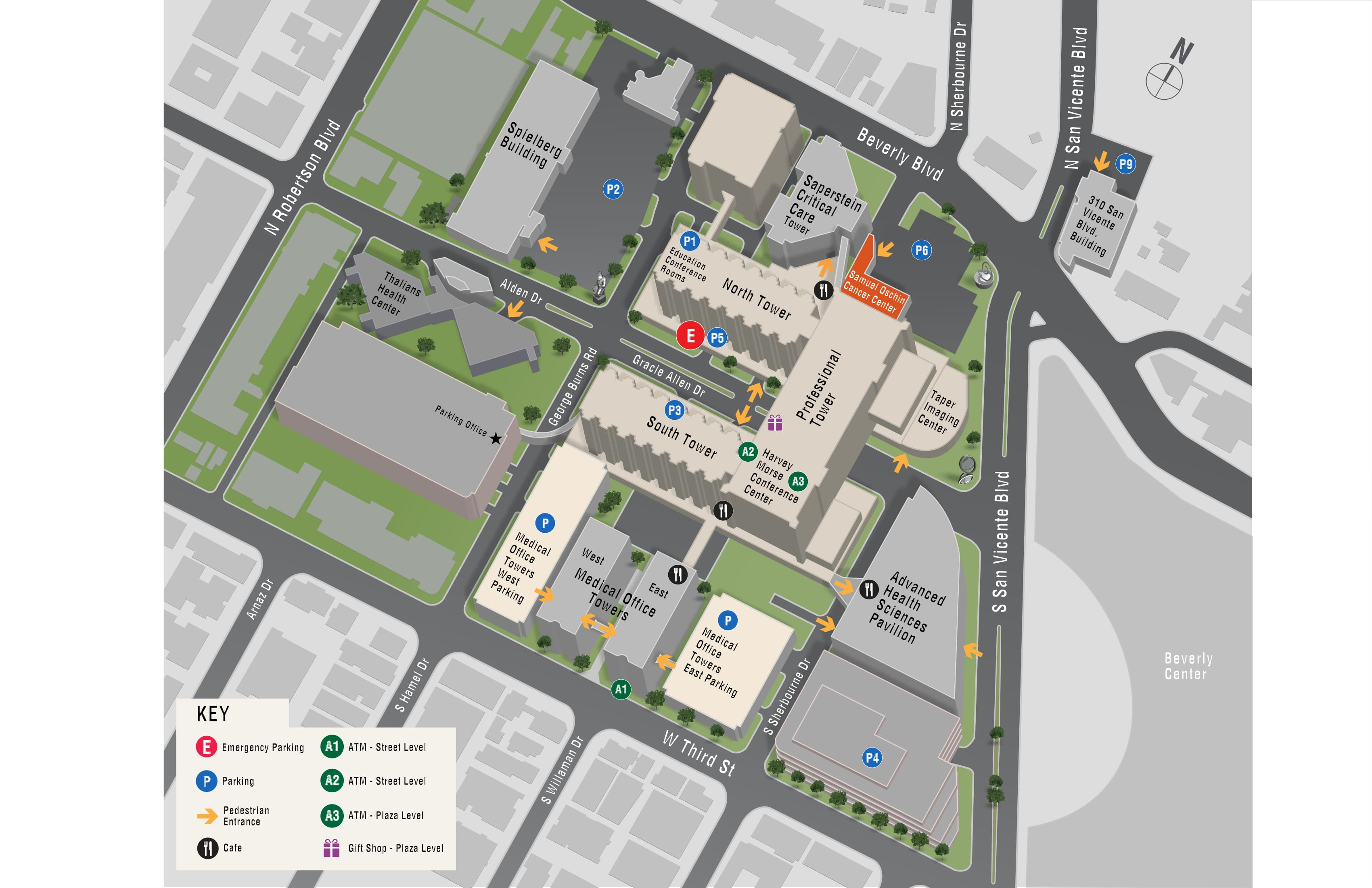 Parking map for Samuel Oschin Cancer Center Infusion Center - Long-Term