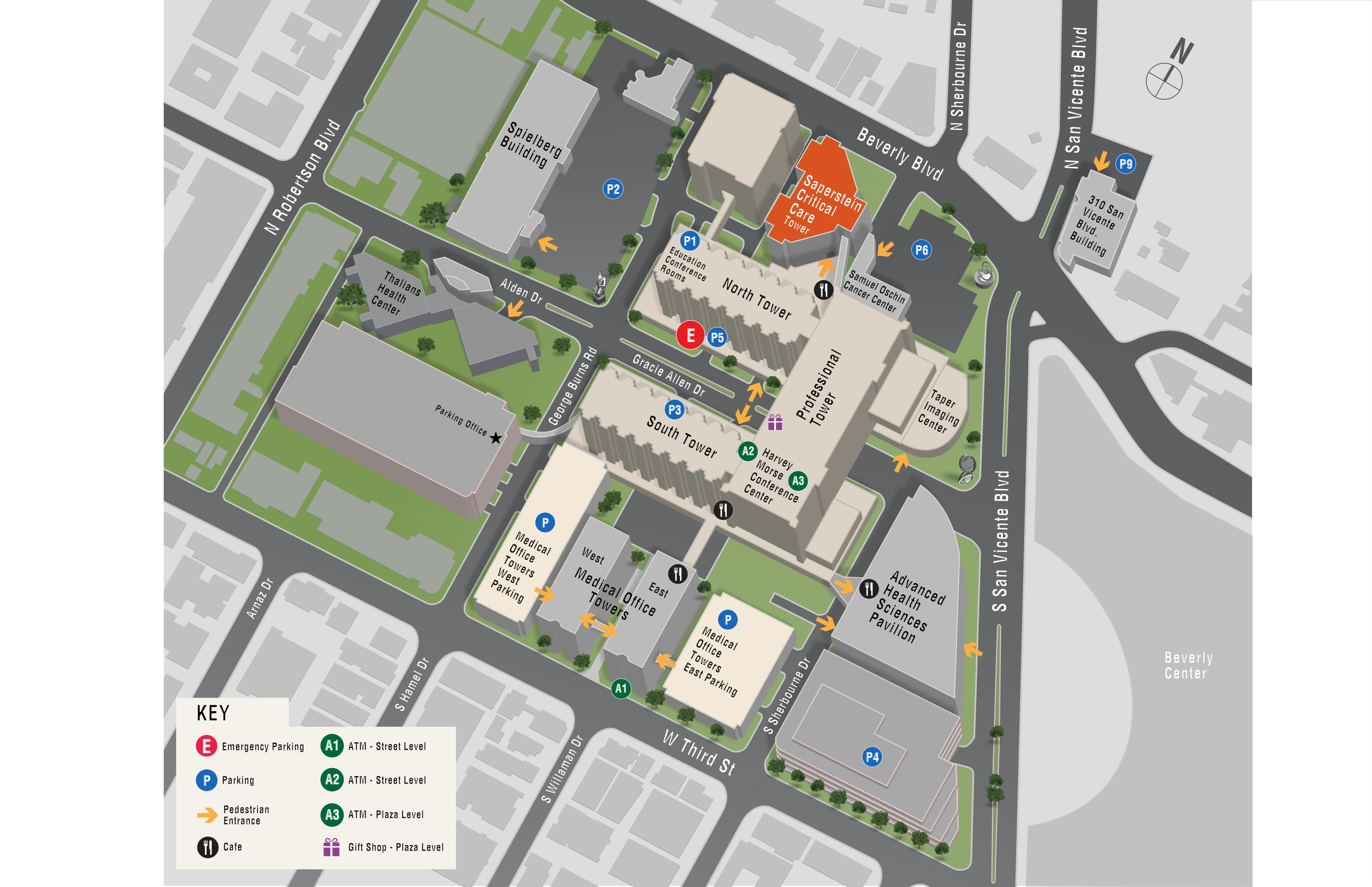Parking map for Saperstein Critical Care