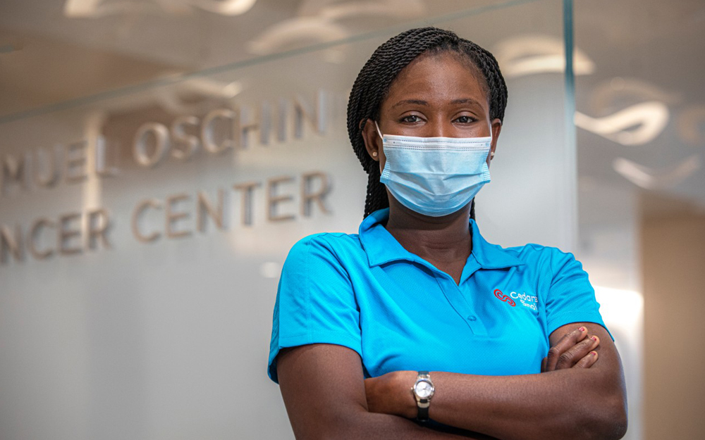 Thanks to Cedars-Sinai's grant support for the nonprofit educational program JVS SoCal, Zina Mansaray is on a path to a career in healthcare.